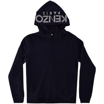 Kenzo Junior Navy Zip Through Logo Hoodie