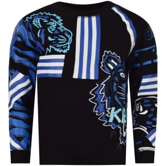Kenzo Junior Twisted Black Tiger Friends Sweatshirt