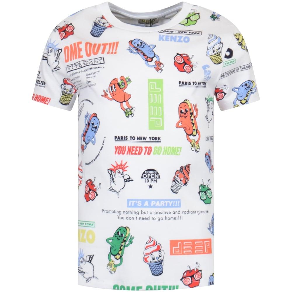 a7950686 KENZO JUNIOR Kenzo Junior White Cartoon All Over Print T-Shirt ...