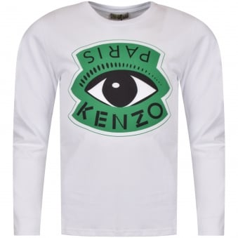 Kenzo Junior White Large Logo Long Sleeve T-Shirt