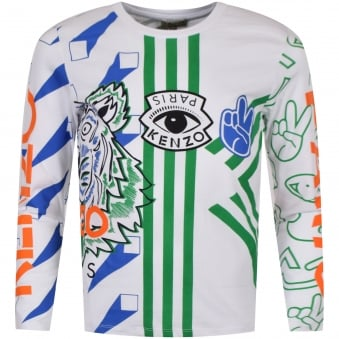 Kenzo Junior White/Multi Print Logo Long Sleeve T-Shirt