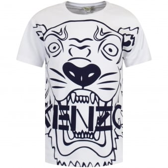 White/Navy Large Tiger Print T-Shirt