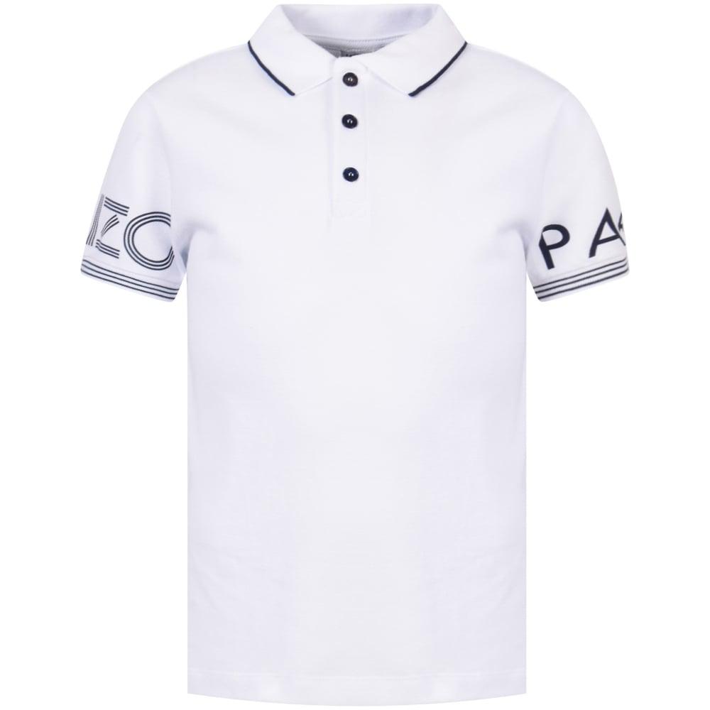 d4725d0d8e KENZO JUNIOR Kenzo Junior White/Navy Text Logo Polo Shirt - Junior ...