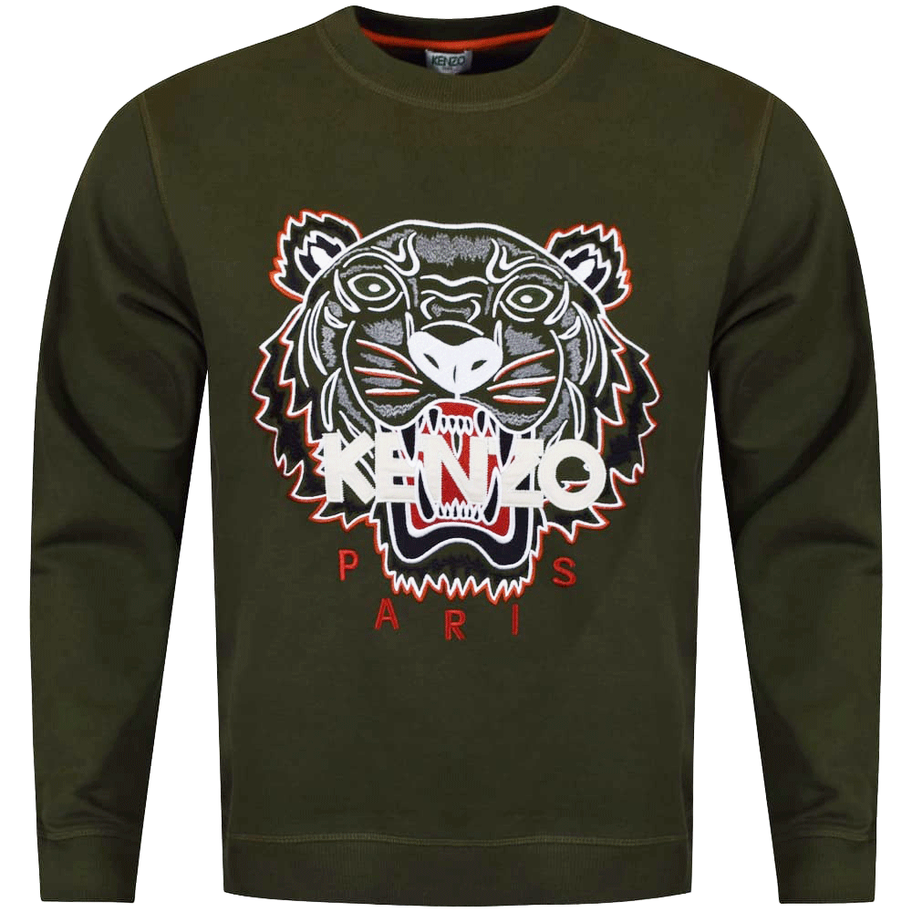 fd26bd40 KENZO Kenzo Khaki/Orange Tiger Logo Sweatshirt - Department from ...