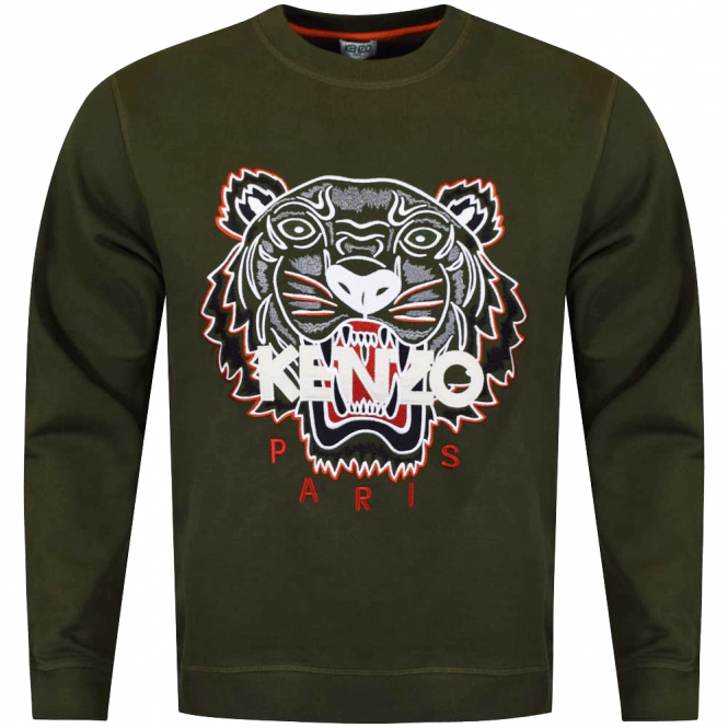 48201cc2 KENZO Kenzo Khaki/Orange Tiger Logo Sweatshirt - Department from ...