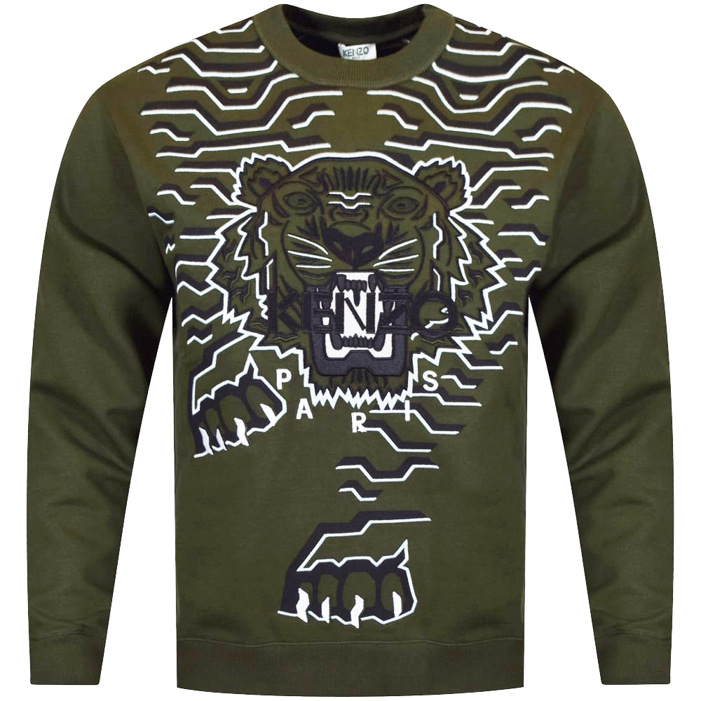 a48a0d4f2ee KENZO Kenzo Khaki Stripe Tiger Logo Sweatshirt - Department from ...