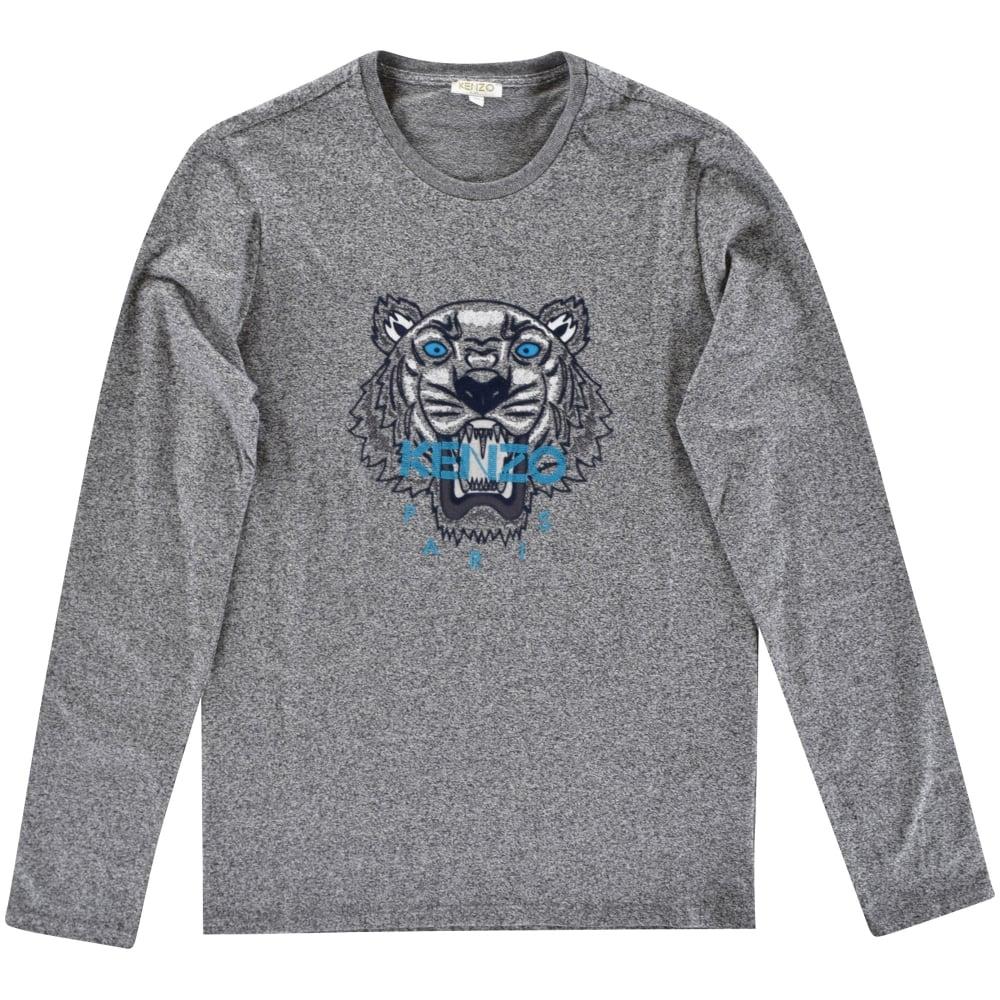 d0bee0c88619 KENZO JUNIOR Kenzo Kids Dark Grey Tiger Long Sleeve T-Shirt - Junior ...