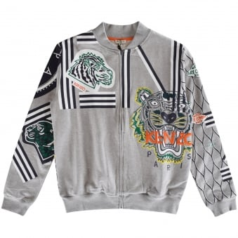 Kenzo Kids Grey All Over Print Baseball Jacket