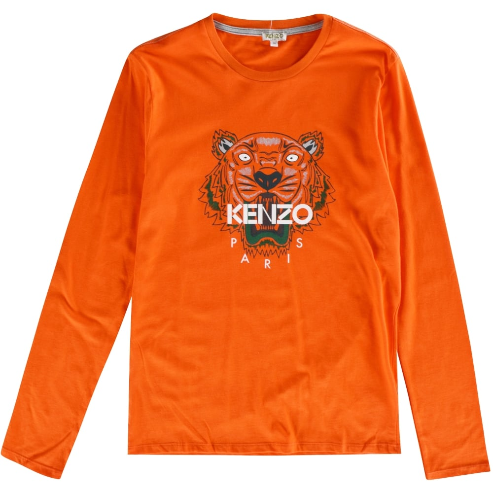 799a0e59ab20 KENZO JUNIOR Kenzo Kids Orange Tiger Print Long Sleeve T-Shirt ...