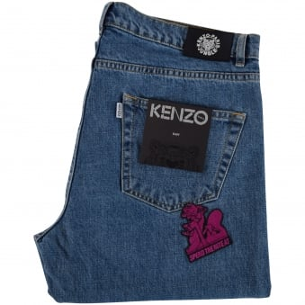 Kenzo Mid Wash Multi Patch Bootcut jeans