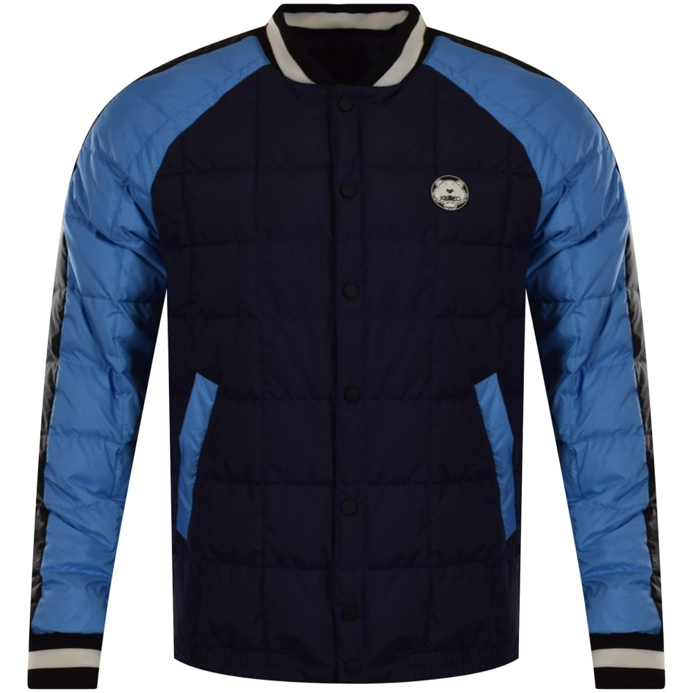 29c19307 KENZO Kenzo Navy/Blue Contrast Quilted Bomber Jacket - Men from ...