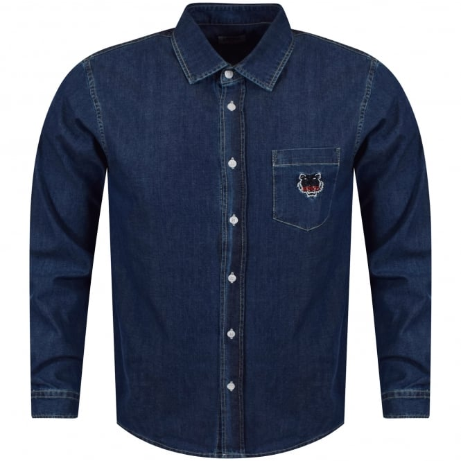 KENZO Navy Denim Tiger Pocket Logo Shirt