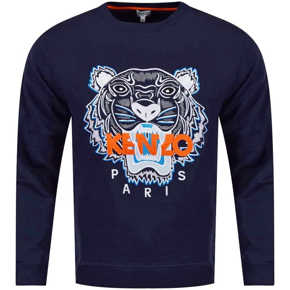 b7a69fb0d KENZO Kenzo Navy/Orange Tiger Logo Sweatshirt - Department from ...