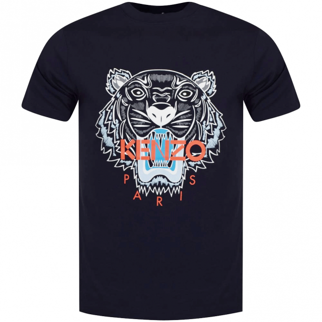 a8a3ea6ce KENZO Kenzo Navy/Orange Tiger Logo T-Shirt - Department from ...