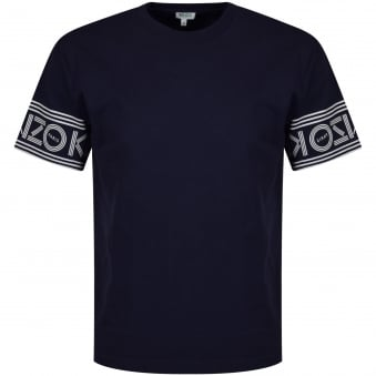Kenzo Navy Sleeve Text Logo T-Shirt
