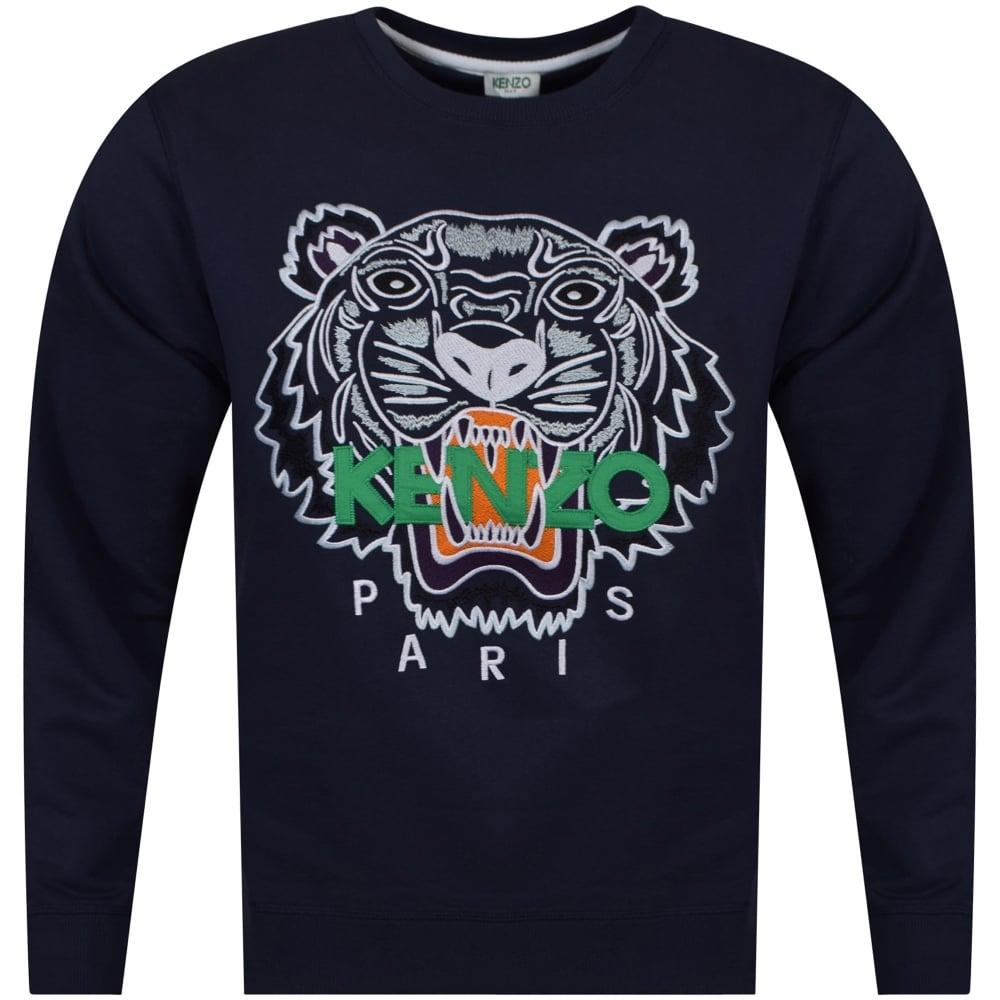 48c144159 KENZO Kenzo Navy Tiger Logo Sweatshirt - Department from ...