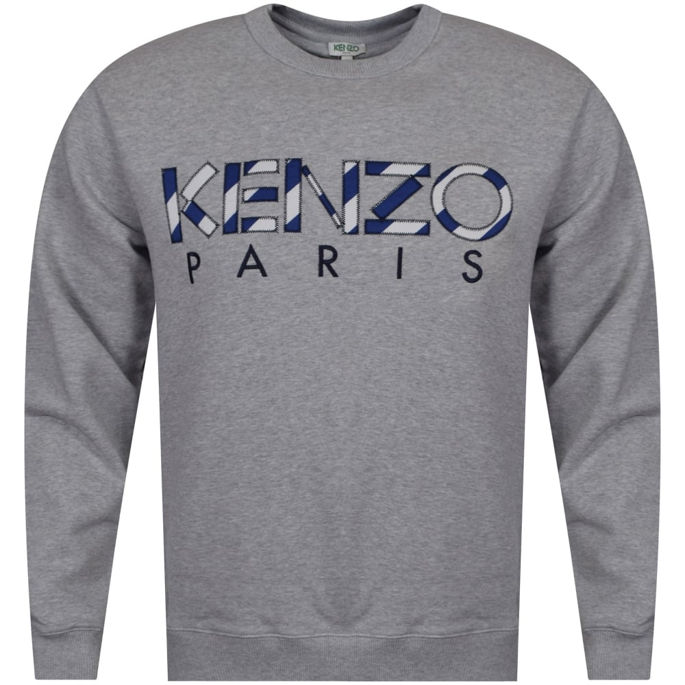 24728d8a KENZO Kenzo Pale Grey Stripe Text Sweatshirt - Department from ...