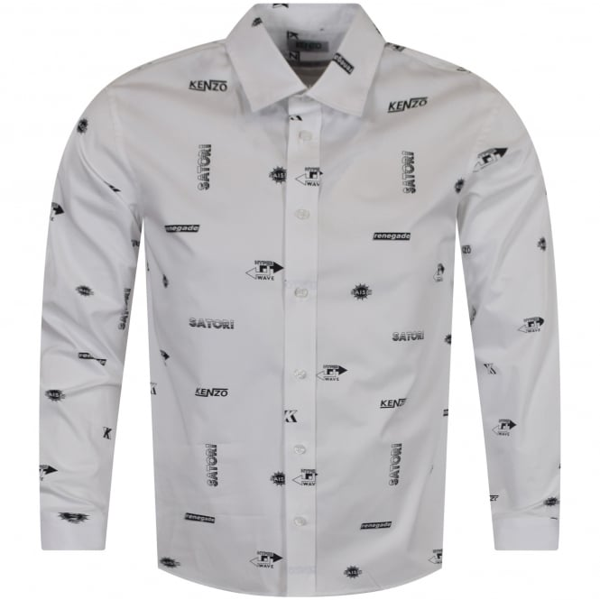 KENZO White/Black Multi Text Logo Shirt