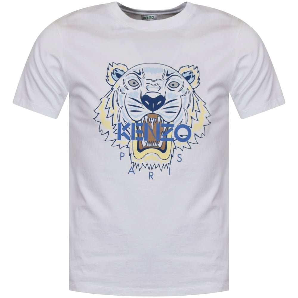 KENZO Kenzo White Blue Tiger Logo T-Shirt - Men from Brother2Brother UK f1bc9a87fd8