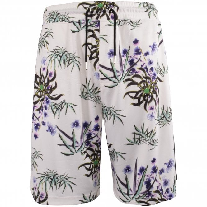 KENZO White Floral Track Shorts Front