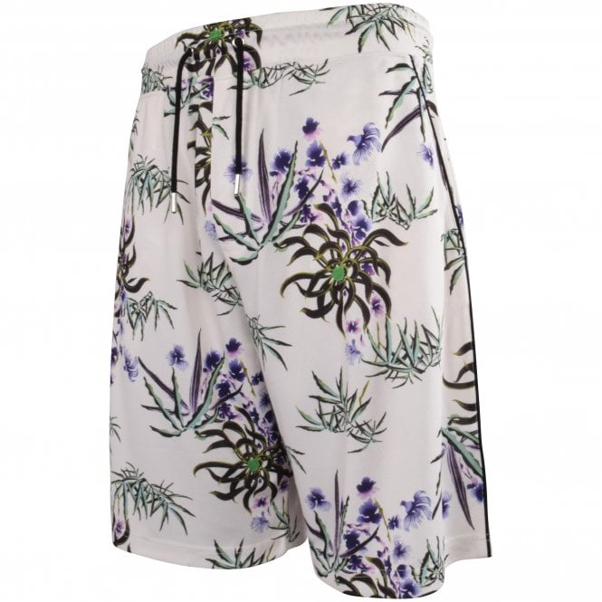 KENZO White Floral Track Shorts Side