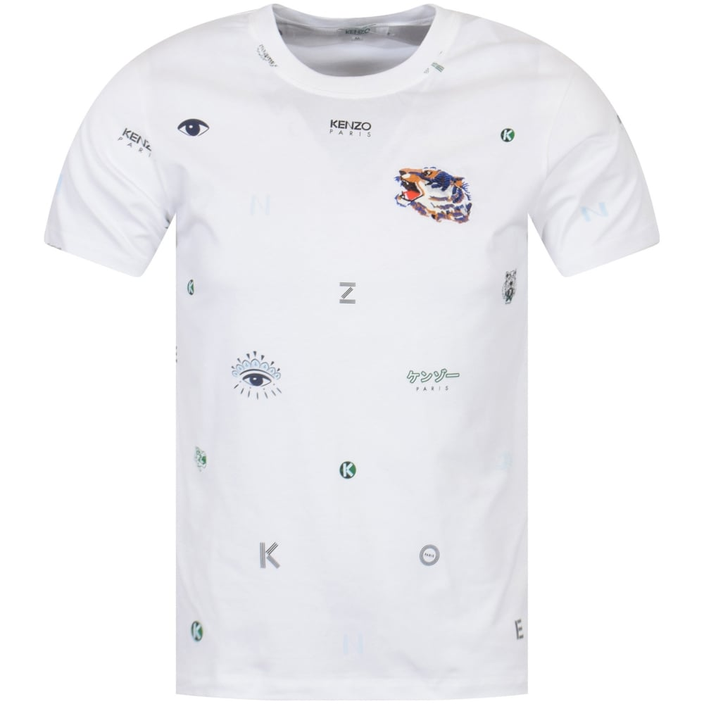 6b4283db9 KENZO Kenzo White Multi Print Logo T-Shirt - Department from ...