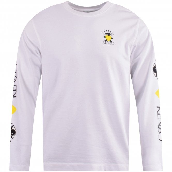 KENZO White Skater Fit LS Cupid T-Shirt Front