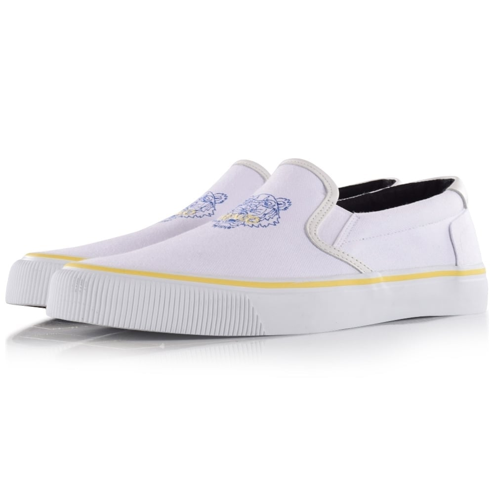 Kenzo White Tiger Slip On Trainers