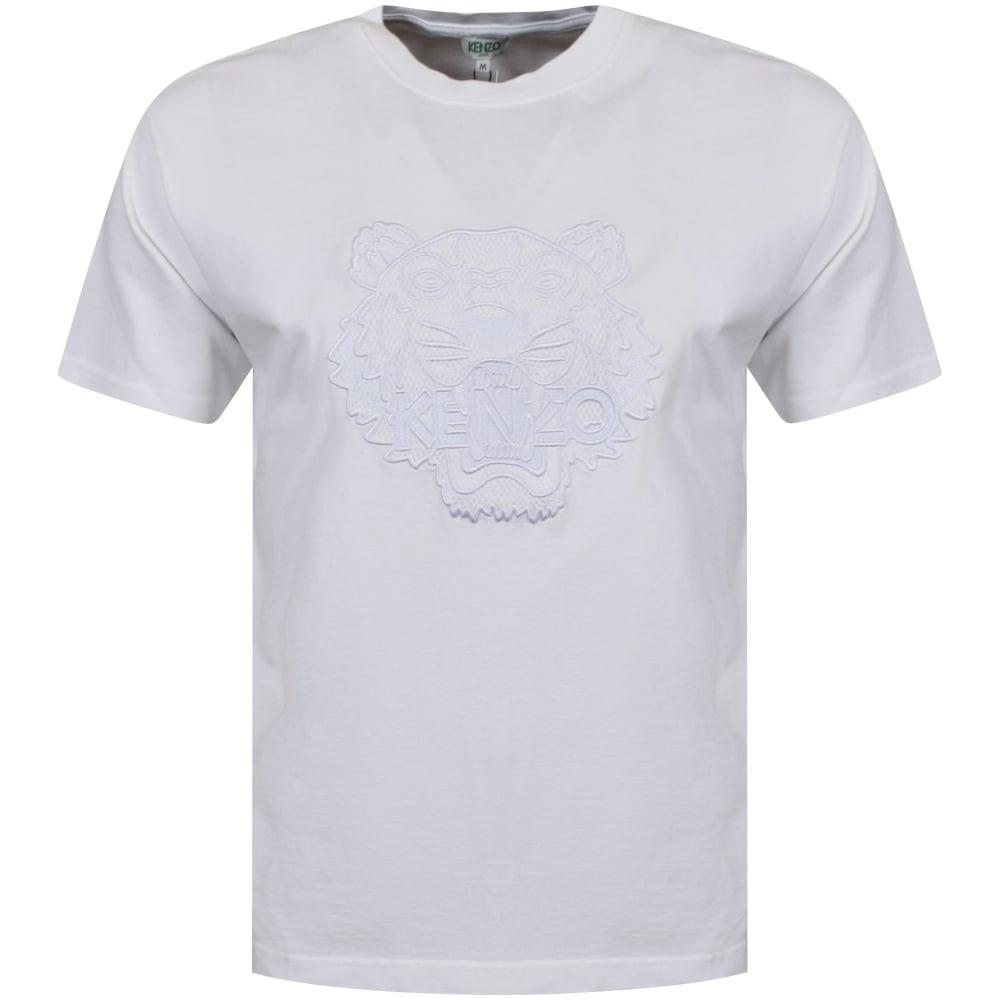 eea11a5c KENZO Kenzo White Tonal Embroidered Tiger Crew Neck T-Shirt ...