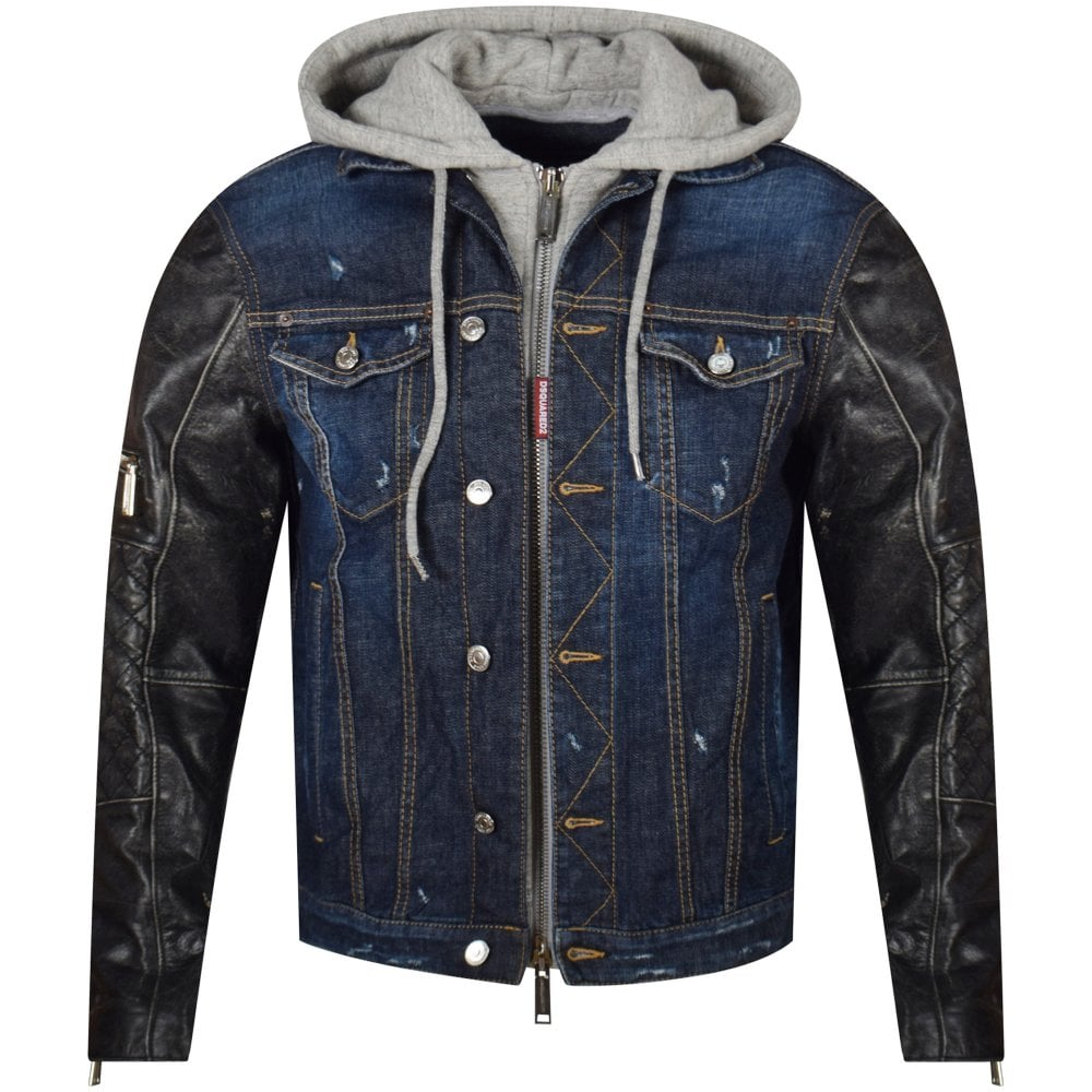 4349a75ed9 DSQUARED2 Leather Sleeve Blue Denim Hooded Jacket - Jackets   Coats from  Brother2Brother UK