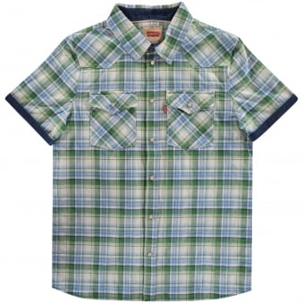 Levi Junior Blue/Green Checked Shirt