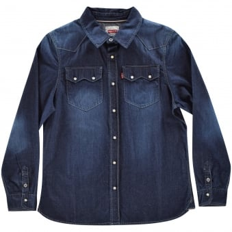 Levis Boys Blue Cotton Shirt