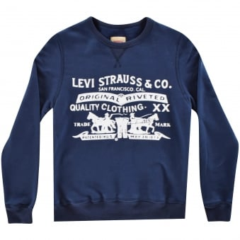 Levis Junior Navy Blue Logo Sweatshirt