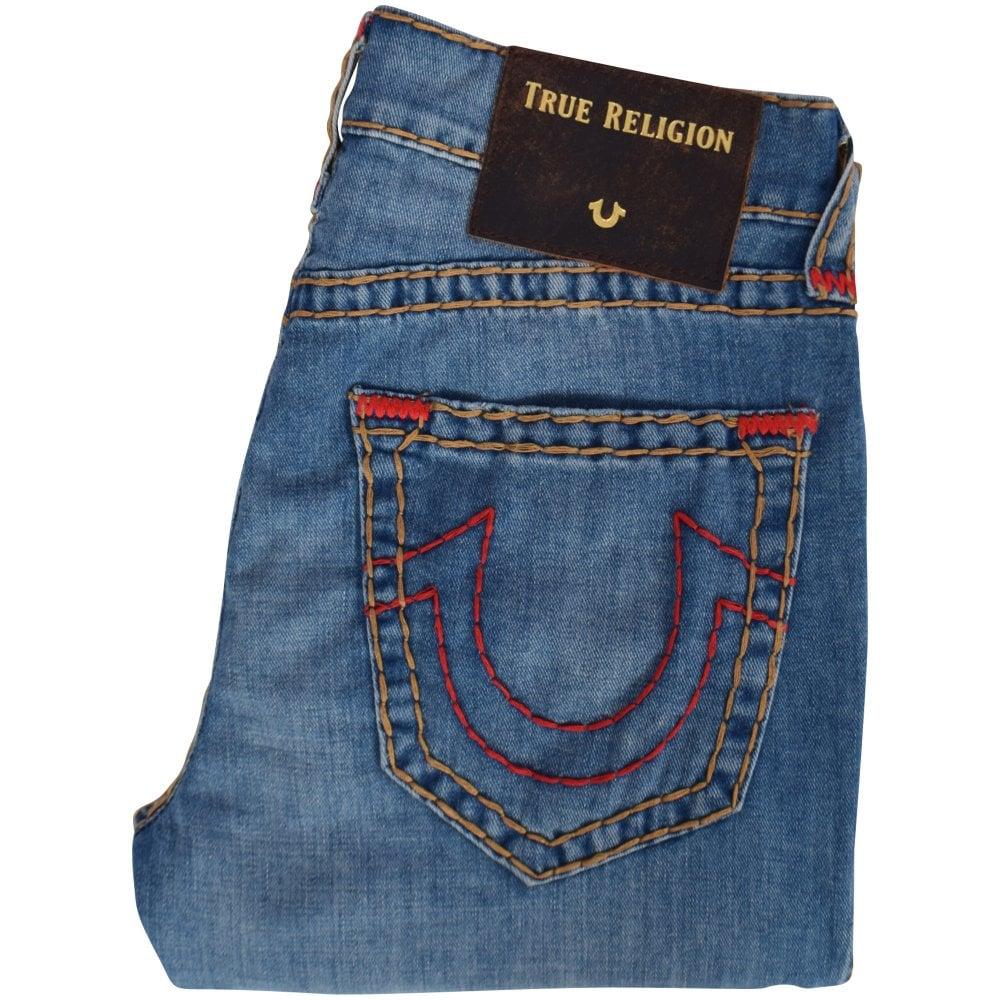 TRUE RELIGION Light BlueRed Rocco Jeans