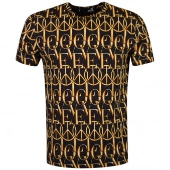 Love Moschino Black/Gold Love & Peace T-Shirt