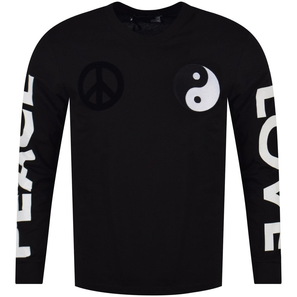 62e8fa57857 LOVE MOSCHINO Love Moschino Black Love Peace Long Sleeve T-Shirt ...