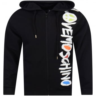 Love Moschino Black Text Print Hoodie