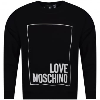 Love Moschino Black/White Border Text Logo Sweatshirt