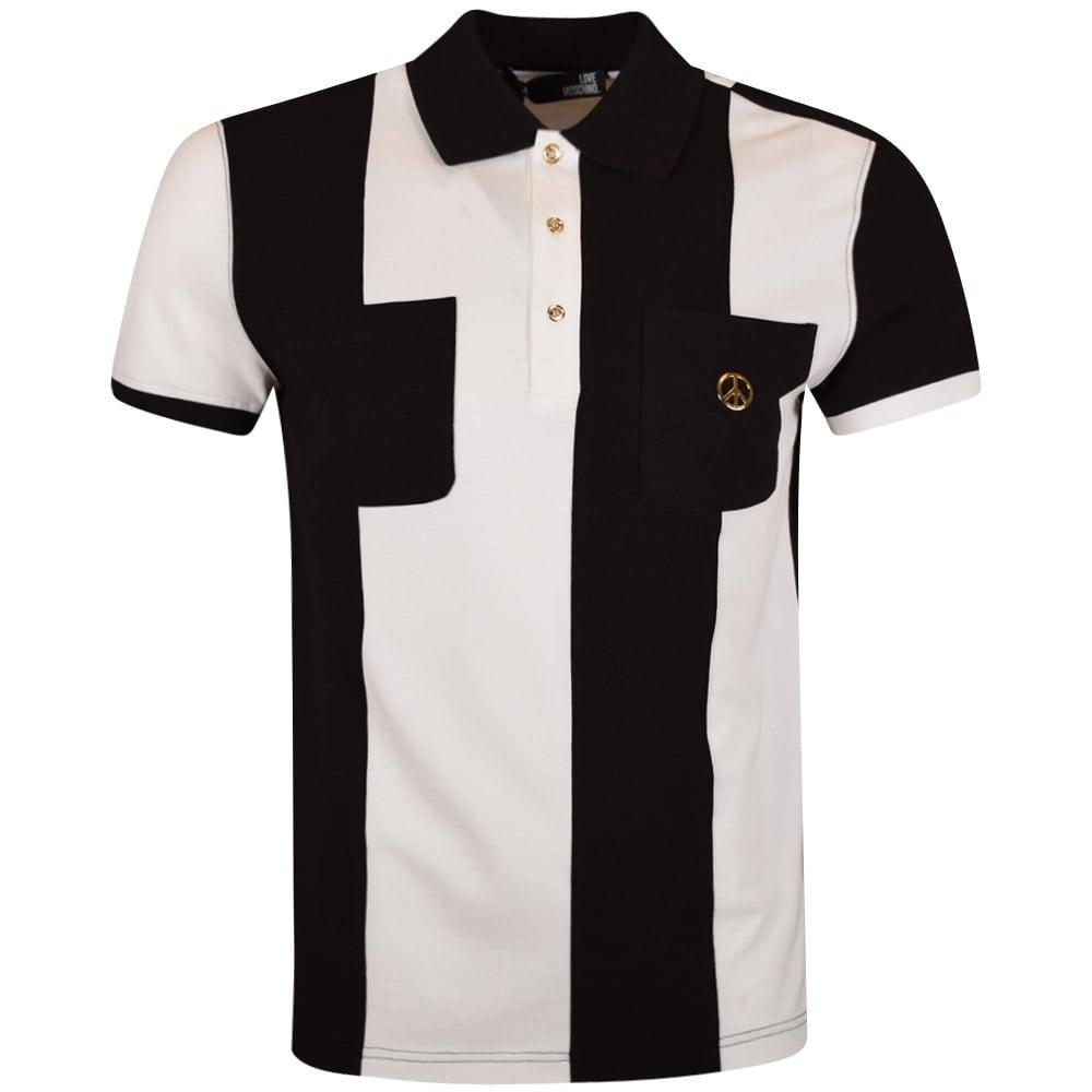 9101c5f343f LOVE MOSCHINO Love Moschino Black White Stripe Pocket Polo Shirt ...