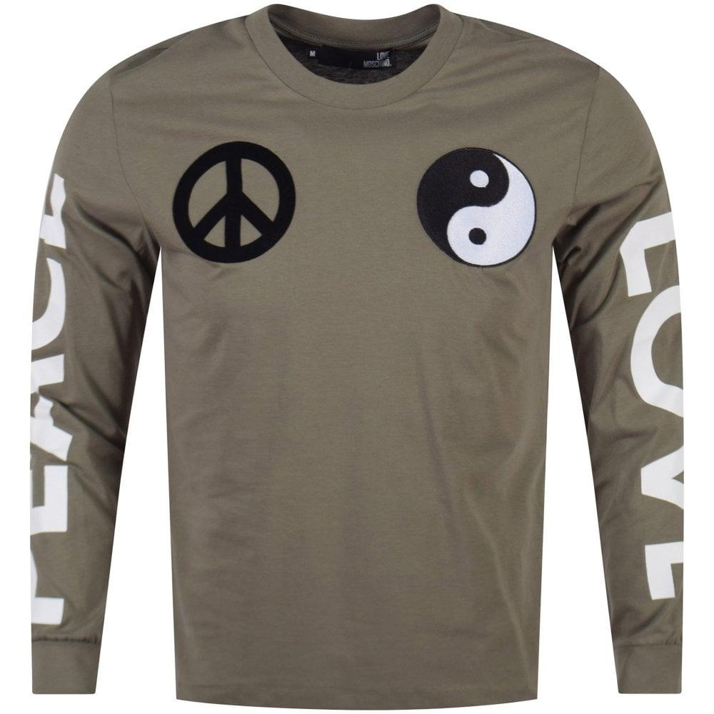 ed0a5df8 LOVE MOSCHINO Love Moschino Khaki Love Peace Long Sleeve T-Shirt ...