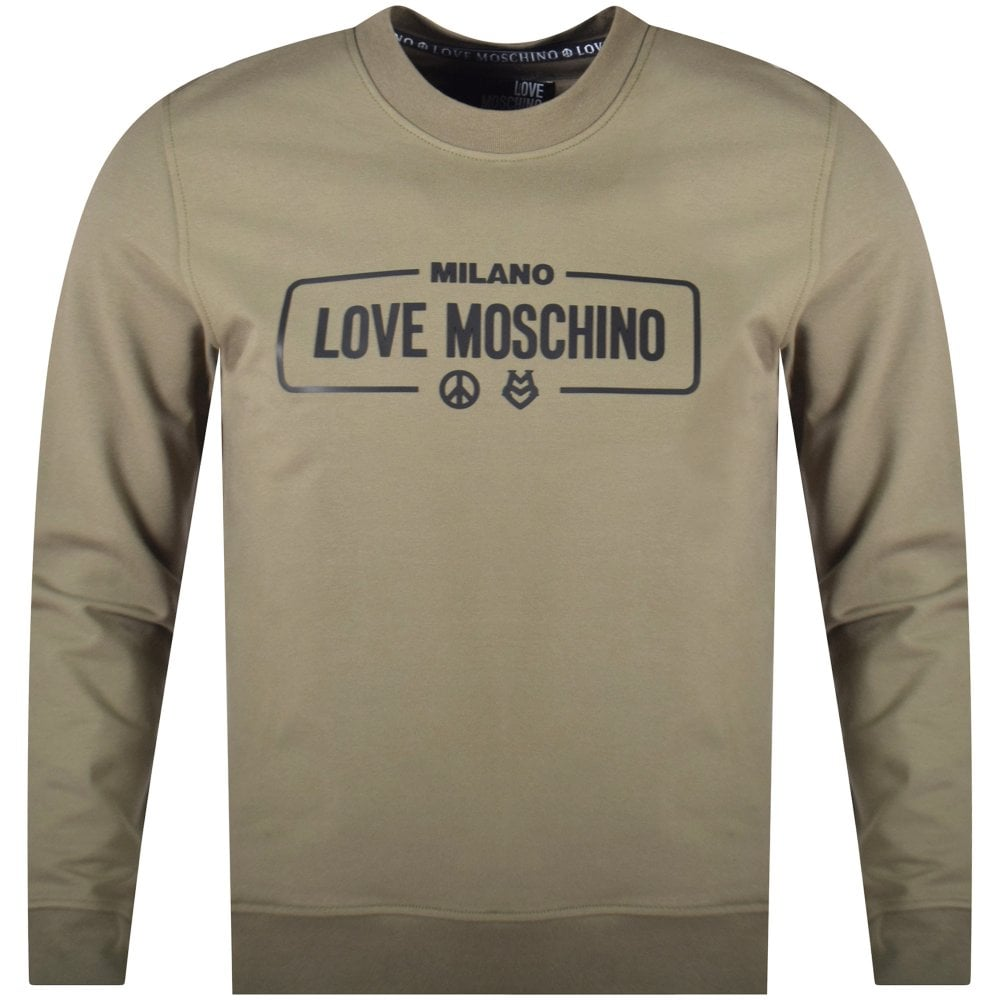 3ff99653fe709 LOVE MOSCHINO Love Moschino Khaki Milano Print Sweatshirt - Men from ...