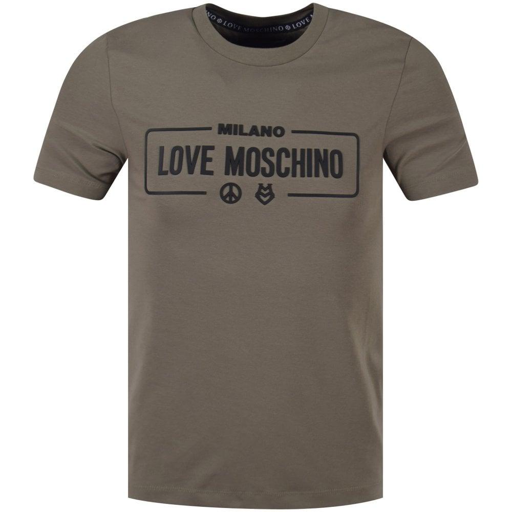 c9e2705fa28cc LOVE MOSCHINO Love Moschino Khaki Milano Print T-shirt - Department ...