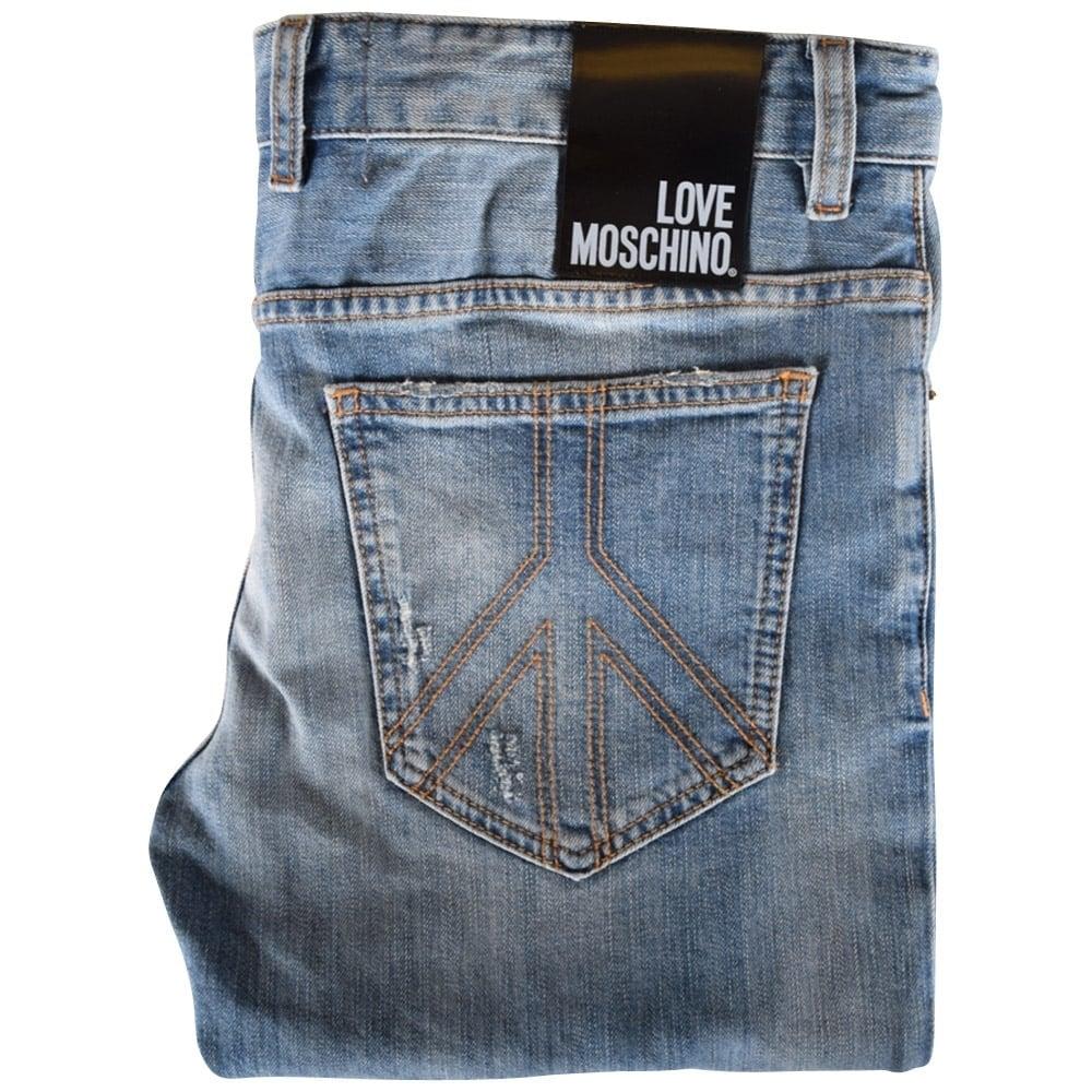 126f591a5b LOVE MOSCHINO Love Moschino Light Wash Ripped Skinny Jeans - Men ...