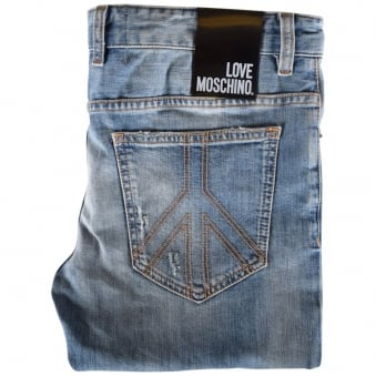 Love Moschino Light Wash Ripped Skinny Jeans
