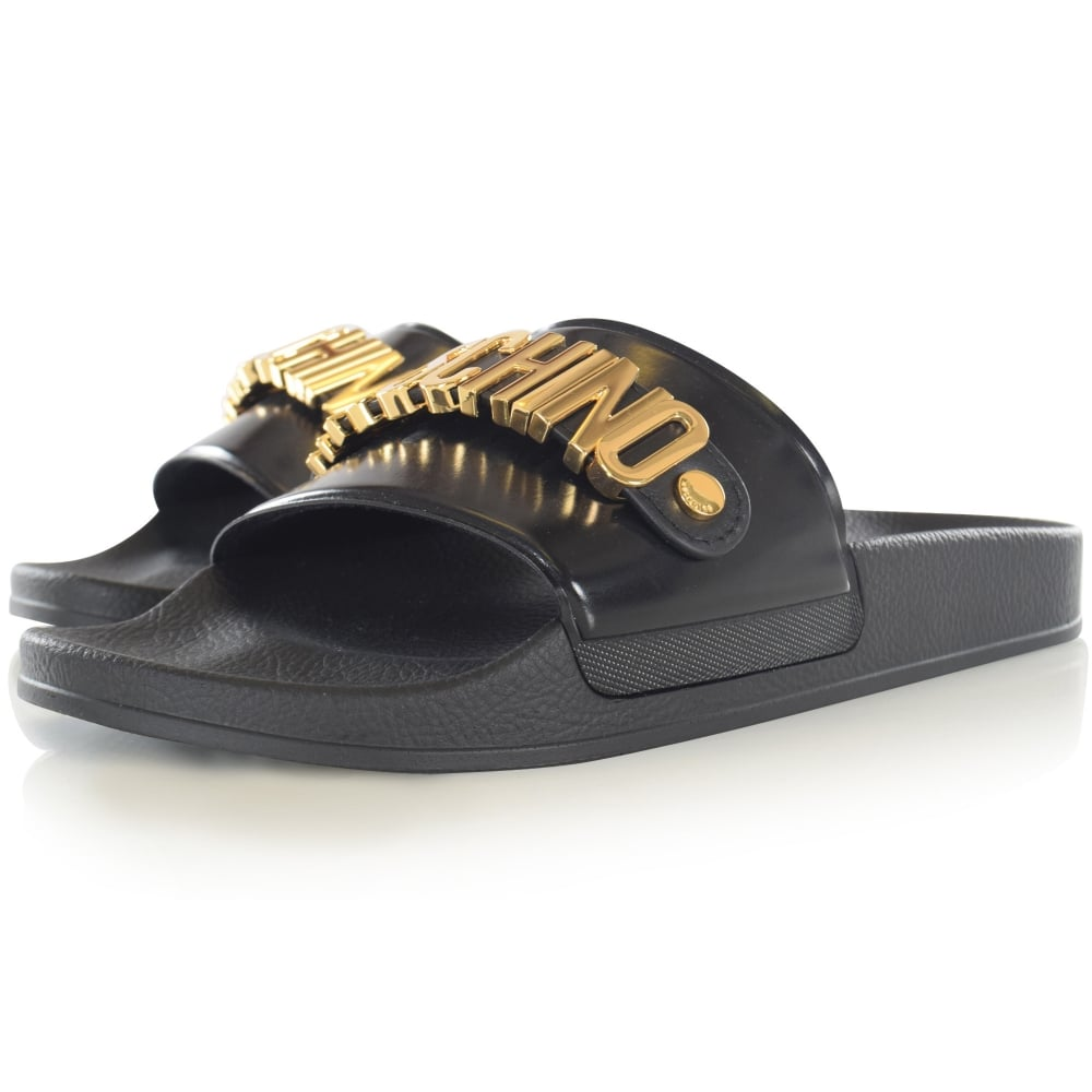 62880016ef1415 LOVE MOSCHINO Moschino Logo Black Leather Pool Sliders - Men from  Brother2Brother UK