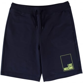 Love Moschino Navy/Green Logo Jogger Shorts