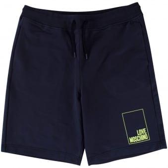 Love Moschino Navy/Green Logo Jogger Shorts