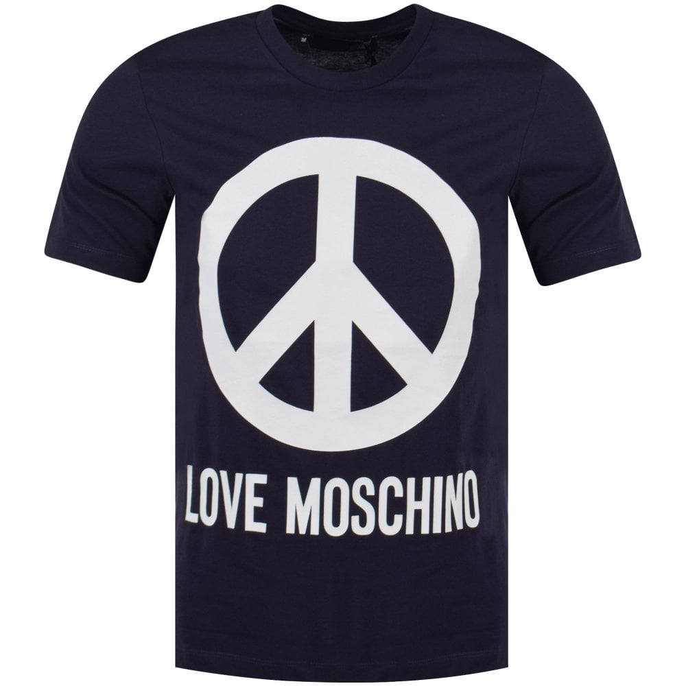 9af7c768 LOVE MOSCHINO Love Moschino Navy/White Peace Graphic T-Shirt - Men ...
