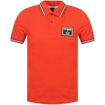 Love Moschino Red Est 2008 Badge Polo Shirt