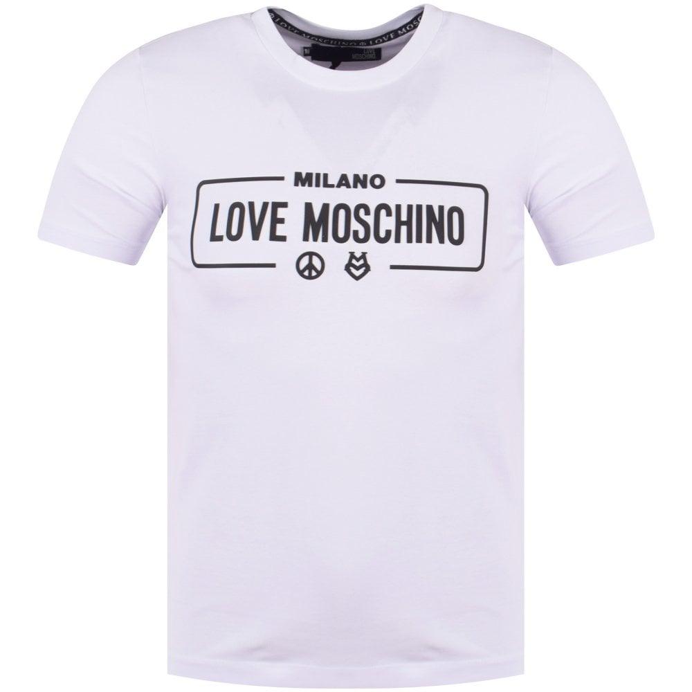 800510d02ee20 LOVE MOSCHINO Love Moschino White Milano Print T-Shirt - Department ...